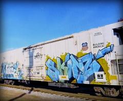 (timetomakethepasta) Tags: skinz freight train graffiti art armn reefer union pacific
