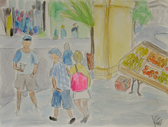 """French Market"" (BKHagar *Kim*) Tags: bkhagar art artwork painting paint watercolor watercolour sketch frenchmarket neworleans nola la louisiana virtualtravelpaintingsgroup"