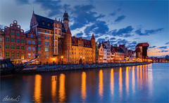 Beautiful Gdansk, Poland (AdelheidS Photography) Tags: adelheidsphotography adelheidsmitt adelheidspictures polska poland polen polonia gdansk danzig riverbank riverfront unescoworldheritage historic architecture bluehour evening citylights cityscape city medieval motlawa motlau