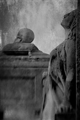 I leave nothing behind if my words are left unheard (Lucretia My Reflection) Tags: selectivefocus sweet50 lensbaby tiltlens blur bokeh statue grave gravestone cemetery goth gothic texture seeinanewway damned hell skull creepy haunting horror