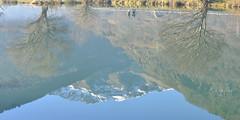 Les marcheurs suspendus, upside down (olivier.amiaud) Tags: eau lac reflet test montagne neige roche arbre plante marche image miroir surface inexplore explore mirror lake reflection d800 70300