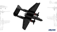 P-61B Black Widow on Stand (Rolling bricks) Tags: lego wwii worldwar fighter northrop american p61b p61 black widow airforce usairforce ww2 microscale us airplane aircraft militaryaircraft army usarmy aviation militaryaviation military nightfighter night