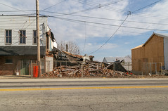 Collapsed Building — Russellville, Ohio (Pythaglio) Tags: pile collapsed russellville ohio unitedstatesofamerica us ruined ruins ruin house dwelling residence historic abandoned vacant sidewalk street clouds browncounty