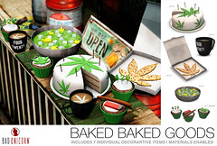 NEW! Baked Baked Goods @ KUSTOM9 (Bhad Craven 'Bad Unicorn') Tags: pizza weed 420 high highaf stoner set weeds four twenty 4 20 mary jane marijuana 3d art artist gfx graphic design bhadcraven badunicorn unicorns unicorn bad bhad craven secondlife second life sl mesh meshed decor decorative decors home garden gardens homes houses builds buildings cool dope