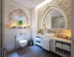 I love this bathroom design so much, The arches, the tiles, the big mirror, the hidden lights. Everything here says class.  #bath #sink #banheiro #banyo #shower #livingroom #toilet #oturmaodasi #bathroominspo #homeinterior #bathroomselfie #evdekorasyonu # (CoolHomeStyling) Tags: instagram ifttt