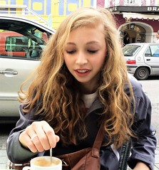 European Street Cafe With Allie (Scott RS) Tags: portrait face hair lips skin eyes teeth blonde smooth tender kind fun funny sweet precious coffee europe street streetshot pretty gorgeous beautiful hands engaging magnetic woman young germany purse spoon lovely adorable delicate pure