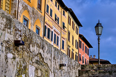 old fashioned street light (ndrearu) Tags: light street pisa lungarno colors city buildings walls yellow blue canon sky