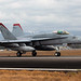 A U.S. Marine Corps F/A 18C Hornet aircraft tests an M31 Expeditionary Arresting Gear System