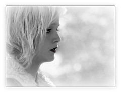 Blonde In Profile (Christina's World : updated bio) Tags: portrait realpeople california candid candidportrait blondehair blonde woman youngwoman youngadult bright highkey highcontrast bokeh textures profile blackwhite bw monochrome female