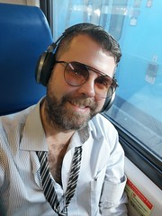 Hot & Bothered (Toni Kaarttinen) Tags: usa unitedstates florida wpb america lakeworth lw palmbeachcounty man guy beard bear selfie hairy scruff trirail train