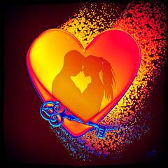 The Key to my Heart (SØS: Thank you for all faves + visits) Tags: corlorful digitalartwork art kunstnerisk manipulation solveigøsterøschrøder artistic digtalart glow heart key love pair 100views