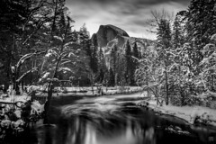 Half Dome Night 2 (lycheng99) Tags: halfdome mountains landscape nature nationalpark nationalgeographic reflections yosemite yosemitenationalpark yosemitevalley mercedriver clouds sky trees snow winter monochrome blackandwhite