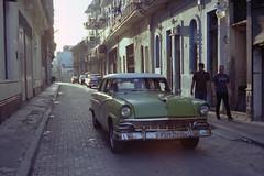 Side Street (the underlord) Tags: yashicaelectro35ccn kodakvision3250d havanna cuba street car classic americancar vintage gegenlicht contrejour contralaluz