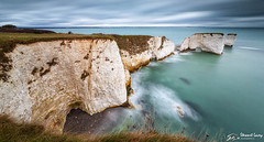 Old Harry Rocks (stewartl2010) Tags: other landscape cliffs water littlestopper milky purbeck longexposure handfastpoint colorefexpro4 limestone nikfilters leefilters dorset oldharry seascape dawn cloudy uk sea