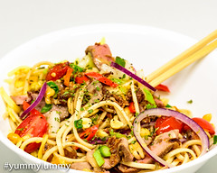 Sous vide Vegemite steak and spicy Udon noodles (garydlum) Tags: asparagus beef beefstock birdseyechillies cheese cooncheese duck duckfat fennel parsley peanuts radish redonion sesameoil sousvide springonion steak tomatoes udonnoodles canberra australiancapitalterritory australia au
