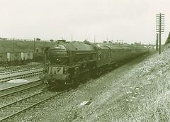 60135. Dukeries Junction 1951. (Alan Burkwood) Tags: dukeriesjunction lner peppercorn a1 60135 madgewildfire southshieldslkx steam locomotive passenger train ecml sidings signals