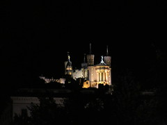 View to Basilique Notre-Dame de Fourvière at night, Lyon, France (Paul McClure DC) Tags: lyon france july2017 auvergnerhônealpes historic architecture night presquîle fourvière church