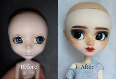 New girl in family! (somehowcameout) Tags: customdoll techniques wip wig work eyes eyelashes repaint red redhead renovation toys trift up custom jun cute pullip girl ooak own obitsu ooakdoll somehowcameout doll jointed gold colours progress planning painting dolls sweet after pullipcustom freckles