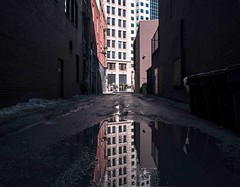 Portage Ave. Back lanes (roughtimes) Tags: 20190322999915 copy winnipeg portage ave spring reflection building architecture landscape water panhandlers 2feetandaheartbeat thisiswhatidoonmybreaks canon 70d alleyway gritty mess pegcity downtown