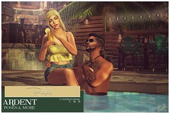 Ardent Poses - Poolside Ad (Ardent Poses) Tags: secondlife second life sl avatar 2nd 2ndlife avi virtual vr 3d inworld poses pose ardent photography people exclusive avatars event love couple couples release new hold broderick logan ena roane enaroane bento advertisement sidewalk sale ardentposes