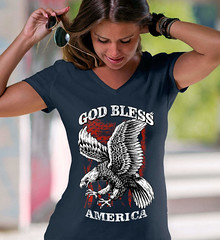 Good Bless America. Eagle on Flag. Women's: Anvil Ladies' V-Neck T-Shirt. Navy.  | Loyal Nine Apparel (LoyalNineApparel) Tags: america conservative country countrylife donttreadonme fashionista girlsthatshoot girlswithguns godblessamerica gop libertarians loyalnineapparel loyalnineclothes ootd patriot patriotic patrioticwomen pewpew pewpewlife southern stylish teaparty teapartyrepublican threepercent threepercenter usa womensfashion womensshirt womenstee womenwhoshoot
