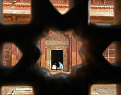Pierced window screen in the mosque in Fatehpur Sikri, a town outside of Agra in India (albatz) Tags: fatehpursikri town india pierced window screen geometric pattern islamic mosque
