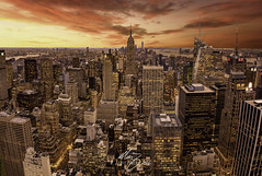 NYSets (Themightyoak) Tags: new york ny nyc usa us united states america travel city cityscape skyline sky clouds light lights evening sunset red orange yellow glow towers skyscrapers empire state building buildings canon manfrotto lee filters top rock big apple