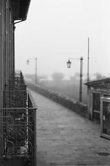 Ponte de Lima? (amgirl) Tags: portugal fog bridge morning balcony caminoportuguese caminodesantiago portotosantiago autumn september 2011 bw film scan