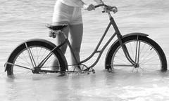 Wet bicycle, 1978 (clarkfred33) Tags: bicycle antiquebicycle vintagebicycle wetbicycle 1978 adventure wetadventure wetfun beach photoshoot saltwater shortshorts wetshorts wetlook vintagephoto