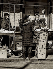 "Outdoor Fruit Market Street Scene In Chinatown (nrhodesphotos(the_eye_of_the_moment)) Tags: dsc61403001084 ""theeyeofthemoment21gmailcom"" ""wwwflickrcomphotostheeyeofthemoment"" shoppers chinatown monochrome scale outdoors fruitmarket women men candid streetscene cartons signs shadows reflections"