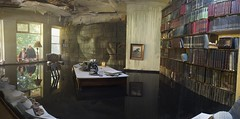 Stitched Panroamic of the flooded library (imageo) Tags: artinspired panorama stitched abandoned mansion flooded library art