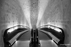 Hamburg Elbphilharmonie, entrance (peterkaroblis) Tags: hamburg elbphilharmonie schwarzweiss blackandwhite eingang entrance rolltreppe escalator