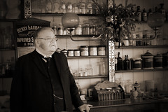 Shopkeeper (PJ Swan) Tags: beamish museum country durham great britain england historical actor sepia toned shopkeeper