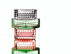 Stacked Glass (Karen_Chappell) Tags: glass pink green black white stilllife reflection product abstract shape shapes square pattern textures colourful colours colour color multicoloured