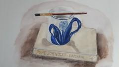 Still life watercolour (Rachel_ B) Tags: artclass art watercolour stilllife delft mug pottery paintbrush book beginner shadows oldbook