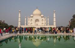 The busy Taj Mahal reflected (AdamUK12) Tags: taj mahal india reflection water canon eos 800d