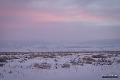 Jackson Hole Sunrise (kevin-palmer) Tags: december winter snow snowy morning nikond750 tamron2470mmf28 grandteton nationalpark grandtetonnationalpark jackson snowing storm cloudy sunrise pink sky sagebrush cold sleepingindianoverlook