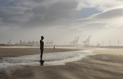 Defiant (Eddie Hyde ARPS) Tags: anotherplace crosby landscape storm wind sandstorm beach mersey merseyside