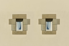 Two windows in symmetry (Jan van der Wolf) Tags: map188559vv wall muur gevel symmetry symmetric symmetrie windows ramen france facade simple simpel gebouw geometric architecture architectuur