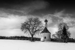 Chapel in winter (hjuengst) Tags: winter winterbeauty chapel kapelle trees bäume wolken clouds schnee snow bavaria bayern wolfersberg oberpframmern zorneding ebersbergerland absoluteblackandwhite