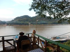 Restaurant on the Mekong (mikecogh) Tags: luangprabang mekongriver restaurant alone solo customer view