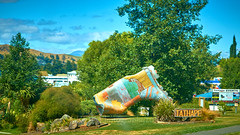 NZ Travels  - On the Rangitikei Roads 07 (ArdieBeaPhotography) Tags: corrugatediron gumboot crumpled sculpture