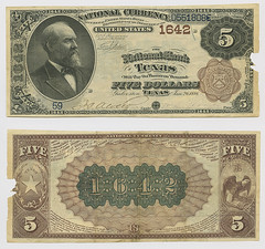 United States $5.00 (five dollars) national currency (SMU Libraries Digital Collections) Tags: texas money national us united states currency paper banks notes note banknote banknotes chartered bank banking galveston galvestoncounty