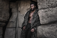 Henry (*KIKITA*) Tags: greaterlosangeles griffithpark losangeles losangelesportraitphotograph southbayphotographer erickagiulianiphotography fashion model nikond750 outdoorportrait portraitphotographer losangelesportraitphotographer african malemodel fauxfur rocks cave abs muscular strong beautiful goodlooking