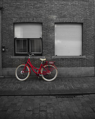 Red bike (fcojavier1991) Tags: brugge bike bicicleta brujas brugges belgium bélgica minimalista bn bw blackandwhite red beauty beautiful nikon nikond3300 sigma sigma1750 travel streetphotography street photography photographer