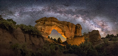 Arches within Arches (Wayne Pinkston) Tags: arch naturalbridge newmexico aztec lowlevellighting top25 top25flickr night sky nightsky nightphotography nightlandscape astrophotographylandscapeastrophotography widefieldastrophotography stars star milkyway milkyay galaxy starrynight starrysky panorama