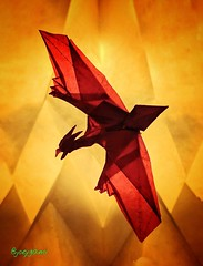 Rodan 2.0 - The Fire Demon (joeygami) Tags: rodan godzilla gojira kaiju titans monsterverse kingofthemonsters flying bird dinosaur design origami paper art craft sculpture drawing painting illustration photo photography graphic red light