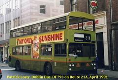 Route 21A, Fleet Street to Bluebell. Dublin Bus, DF793, April 1991 (Shamrock 105) Tags: dublin dublinbus vanhool leyland leylandatlantean daf fleetstreet conynghamroad bluebell an68 route21a