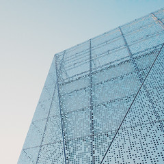 Pale blue (Andrei Grigorev) Tags: building architecture contemporary abstract front angle foreside structure pattern city minimal minimalism simplicity blue paleblue sky dots geometrical cube mobilography