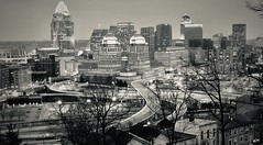 Downtown Cincinnati at Twilight (mikeginn12000) Tags: procterandgamble cincinnati urban canon bw silvertone twilight ohio skyscrapers night evening cityscape windows lights highways motion